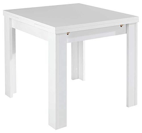 Esstisch Küchentisch Ausziehtisch | B 80 x T 80 cm | Dekor | Weiß matt | ausziehbar