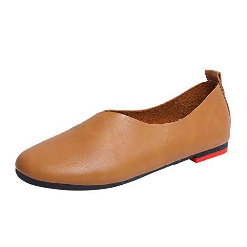 ZIYOU Damen Retro Halbschuhe, Frauen Beiläufige Einzelne Schuhe Runde rutschfeste Erbsen Schuhe Freizeitschuhe(Braun,36 EU)