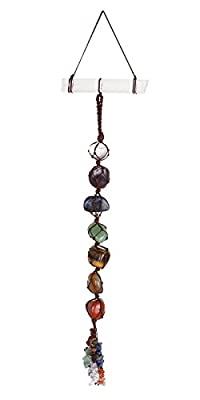 Top Plaza 7 Chakra Gemstones Reiki Healing Crystals Hanging Ornament Home Indoor Decoration for Good Luck,Yoga Meditation,Protection - Tumbled Palm Stones with Selenite Crystal Bar