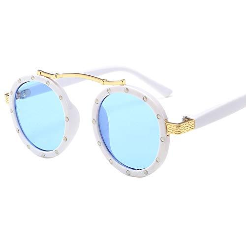 Glqwe Klassische Sonnenbrille, UV-Schutz for Kinder Sonnenbrille Mode Fahrradrahmen Kinder Sonnenbrille Alloy Personality Reis Nagel Kinder Sonnenbrillen (Color : D)