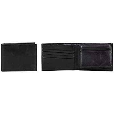 Ben Sherman Men's Slimfold Full-Grain Anti-Theft RFID Security ID Window, Vegetable Tanned Black Leather, Passcase Bi-Fold Wallet