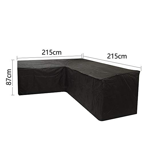 Relax Love L-förmige Gartenmöbel-Abdeckungen, wasserdicht, UV-Schutz, staubdicht, mit Aufbewahrungstasche für Außenbereich, Terrasse, Sofa, Schwarz , 215X215X87CM