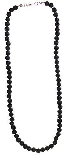 budawi® - Lava Kette 6 mm Kugel Halskette 925er Silberverschluss, schwarze Lavakette