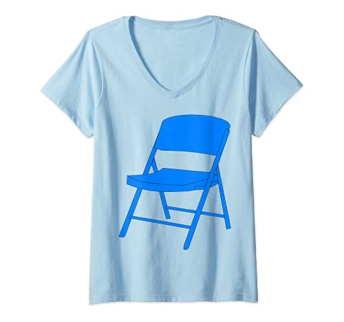 Damen Klappstuhl T-Shirt mit V-Ausschnitt