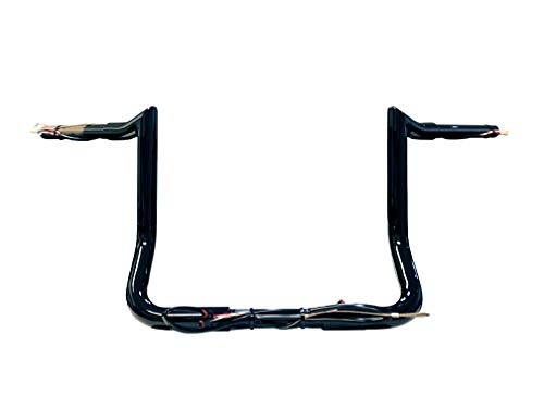 Dominator Industries 1 1/4' PRE-WIRED 10' Meathook Monkey Bar Ape Hanger Handlebar Compatible With 2014-2021 Harley-Davidson Bagger Touring Electra & Street Glide, Special, Ultra Limited, low (Black)