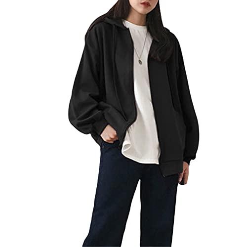 Sudaderas con cremallera para mujer, de manga larga, con cordón de color sólido, ajuste holgado, con capucha y bolsillo superior, Negro, XL