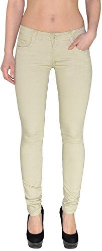 ESRA Damen Stretch Hose Skinny Stoffhose Low-Waist Hüfthose Tiefbund bis Übergröße J245