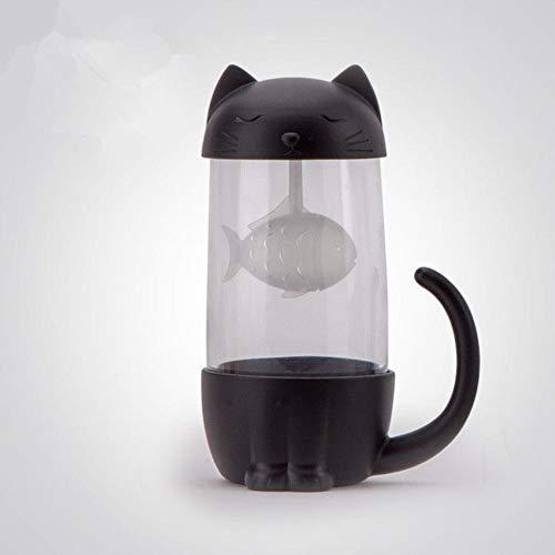 XMYNB Botella Taza De Té De La Taza De Cristal Lindo del Gato De La Botella De Agua con El Filtro, Adecuado para La Oficina En Casa