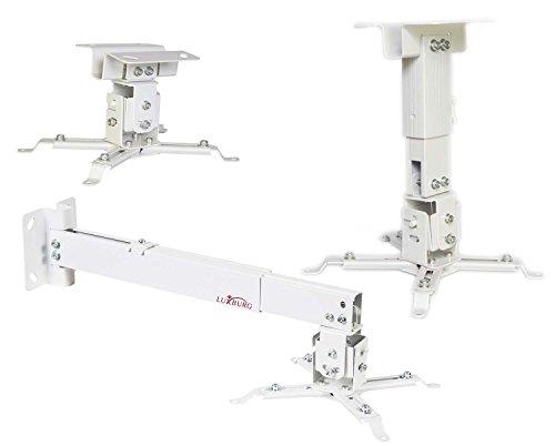 Luxburg supporto a soffitto universale in Alluminio per montaggio priettore 10-20cm tiene 15kg 30 gradi - Bianco