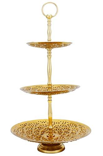 Orientalische Etagere 3 Etagen aus Metall Aghdas Gold 50cm Hoch | Etageren als Ständer für Obst Muffin Cupcake oder Kuchen | Marokkanische Dekoration auf dem gedeckten Tisch in Ihre Hochzeit