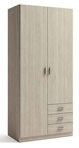 Miroytengo Armario ropero Dormitorio Color Sable Efecto Madera 2 Puertas 3 cajones 216x100x53 cm