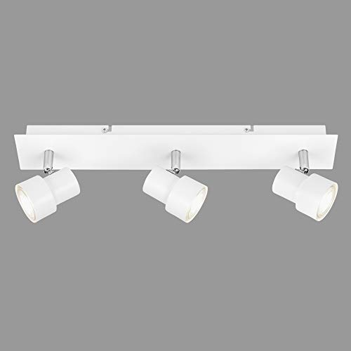 Briloner Leuchten Faretto da soffitto a LED, 3 lampadine, lampada girevole e inclinabile, 3x GU10, 5 Watt, 460 Lumen, 3.000 Kelvin, bianco 5 W