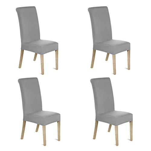 OFNMY Juego de 4 fundas elásticas para sillas de comedor, de extraíbles y lavables, fundas protectoras para sillas para comedor, hotel, boda, hogar, cocina (gris)