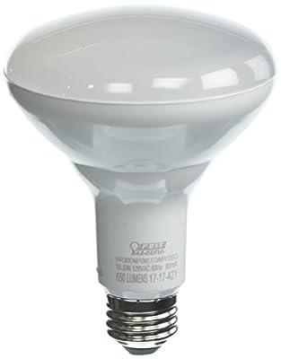 "Feit Electric BR30DM/10KLED/MP/12 65-Watt 650 Lumens Dimmable LED BR30 Flood Recessed Light Bulb, 5.37"" H x 3.75"" D, 2700K Soft White, 12 Piece"