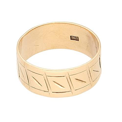Anillo de boda de oro rosa de 9 quilates para mujer (talla O) 7 mm de ancho   Anillo de lujo para mujer