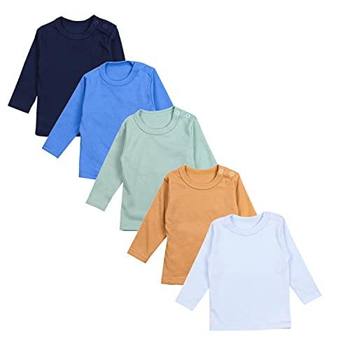 TupTam Camiseta Manga Larga para Bebé Niño, Pack de 5, Mix de Colores 7, 86