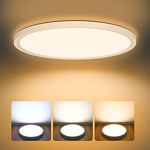 LED Deckenleuchte Dimmbar 24W, AVANLO 3000k/4000k/6500k Einstellbar Deckenlampe LED Panel, Ø30cm Küchenlampe 2400lm, Wohnzimmerlampe Badezimmer Lampe, Deckenleuchte Rund für Büro, Dünn