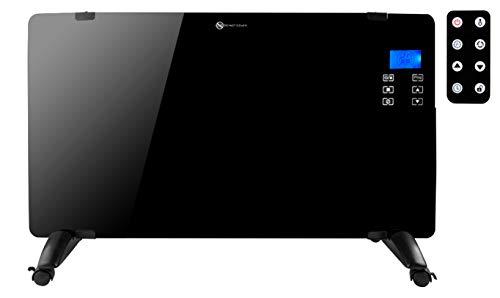 MT MALATEC Glasflächenheizer Glaskonvektor Heizung mit LCD-Display Touchscreen und Fernbedienung 2000W Schwarz/Weiß 8958, Farbe:Schwarz