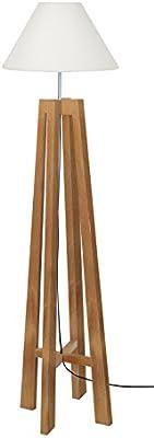 Tosel 51198 Lampadaire 1 Lumière, Bois, E27, 40 W, Blanc, 40 x 156 cm