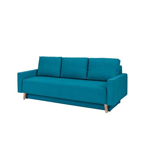 Sofa Oviedo, Couch mit Bettkasten und Schlaffunktion, Farbauswahl, Polstersofa, Bettsofa im skandinavischen Stil (Moric 13, Füße: San Remo Eiche Hell)