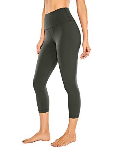 CRZ YOGA Women's Naked Feeling I Workout Leggings 21 Inches - High Waist Capris Tight Yoga Pants Olive Green -R418A Medium