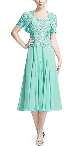 DUMOO - Vestido de Novia de Encaje, Largo del té, Vestido de Dama de Honor, Vestido de Fiesta, Vestido de Noche de Gasa con Bolero Azul Turquesa 36