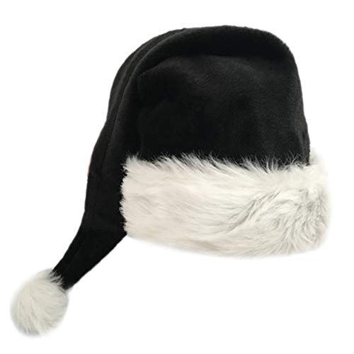 Gwxevce 75cm Adult schwarzer Plüsch Langer Weihnachtshut Weihnachtskostüm Pompon Weihnachtsmann Mütze