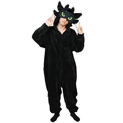 Light Fury Pajamas Black Long Sleeve Coral Fleece Hooded Sleepwear Christmas for Men Women