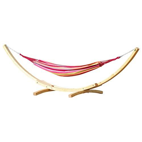 410cm XXL hamac stand NATUR-MONA mélèze en bois avec hamac coloré de AS-S