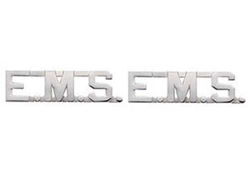 EMT E.MS. EMERGENCY MEDICAL SERVICES Paramedic Collar Lapel Pins Brass Insignia Emblem 1/2', NICKEL (Silver) Finish, SOLD AS PAIR !