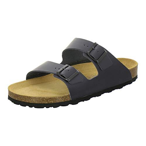 AFS-Schuhe 3100 Bequeme Pantoletten für Herren Leder, Hausschuhe Arbeitsschuhe, Made in Germany (44 EU, Blau/Navy)