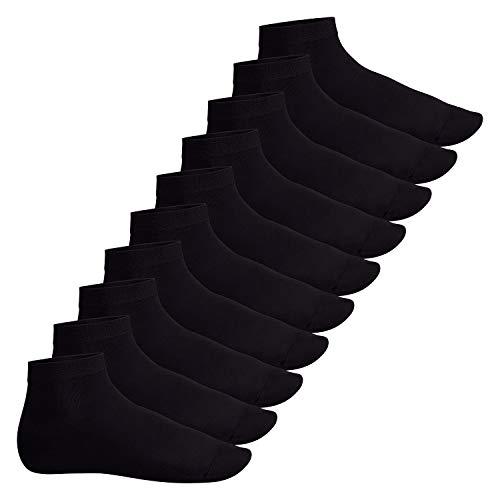 Footstar Herren und Damen Kurzschaft Socken (10 Paar) - Sneak it! - Schwarz 39-42