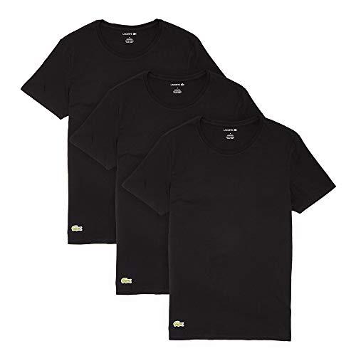 Lacoste Essentials - Camisetas de Cuello Redondo para Hombre, 100% algodón, Ajuste Regular, 3 Unidades, Negro, Medium