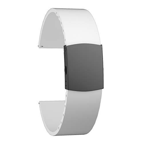 SOUWILA Correa Reloj Recambios Correa Relojes Caucho 14/16/18/20/22/24mm Silicona Correa Reloj con Acero Inoxidable Hebilla Desplegable (18mm, White-Black)