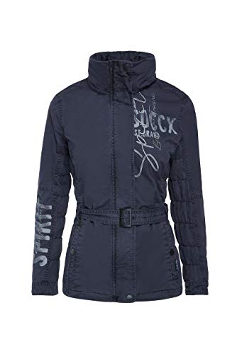 SOCCX Damen Jacke mit Kapuze und Taillengürtel