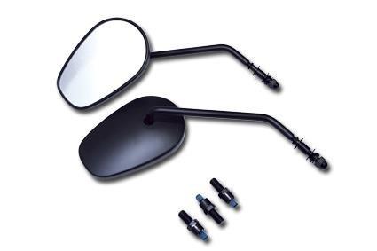 Harley Davidson - stuur - H-D stijl spiegel met E-mark - hoofdgrootte: L x H x D = 137 x 90 x 20 mm, klem 140 mm onder na het vouwen en 35 mm onder naar de stekker - Vend in paarsbeschrijving: zwart met E-mark (M10 x adapter 1,25)