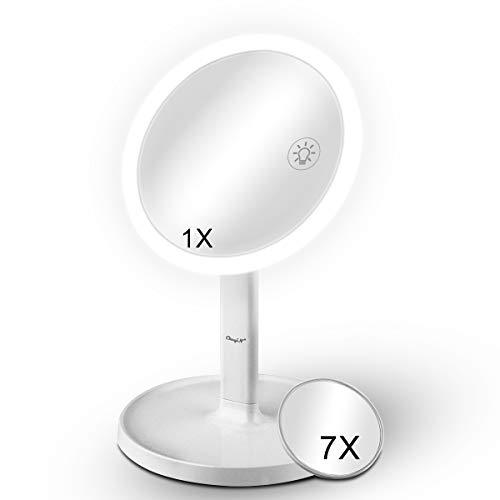 CkeyiN Miroir Maquillage,Miroir grossissant 1x / 7X,3 Couleurs Rechargeable de Miroir Lumineux ,40°Rotation Ajustable,il Dure 2-3 Heures sous la lumière la Plus Forte