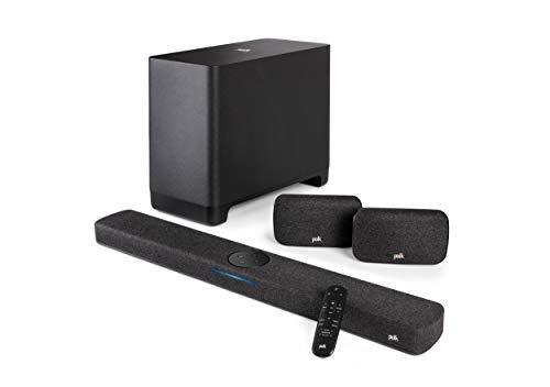 Polk Audio React 5.1 Surround System, Heimkino Soundbar mit Alexa Built-in mit kabellosem Subwoofer und Surround-Lautsprechern