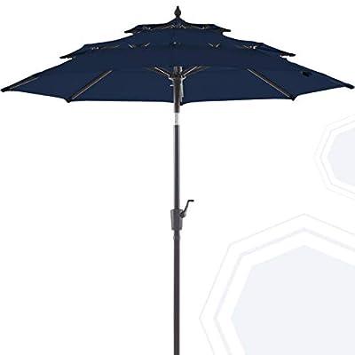 BLUU Olefin 9 FT 3 Tier Patio Market Umbrella Outdoor Table Umbrellas, 3-Year Nonfading Olefin Canopy, Center Umbrellas with 8 Sturdy Ribs & Push Button Tilt for Garden, Lawn & Pool (Navy Blue)