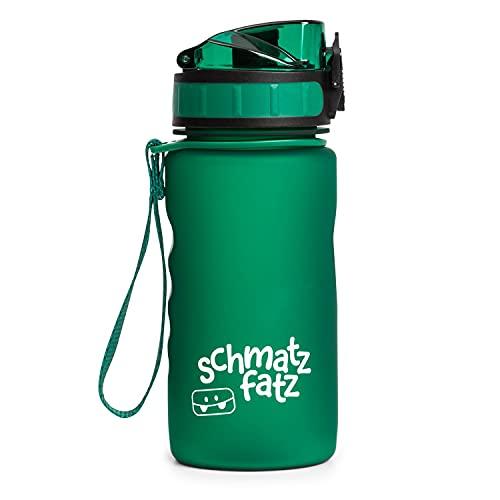 schmatzfatz Borraccia Sportiva Antiperdita per Bambini, Senza BPA, con Inserto per Frutta, Chiusura con 1 Clic, Borraccia per Bambini, per Scuola e Asilo, 350ml, Verde