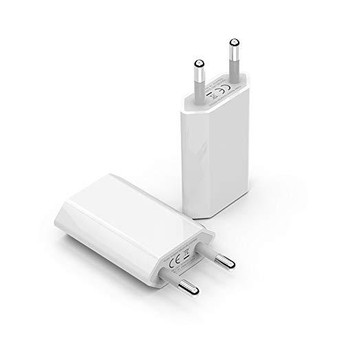 BERLS Cargador Phone 2-Pack, Universal Adaptador Enchufe USB para Phone 7 Plus, 8 Plus, 6S/6 Plus, XS/XR, 5S/5C/5E, Compatible con iPad/iPod/Tablet/Kindle/Smartphone