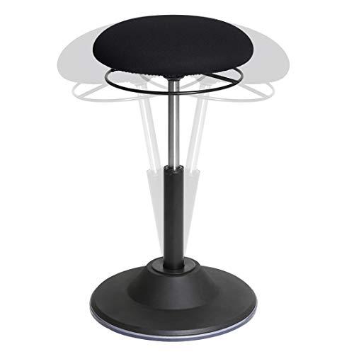 Seville Classics Airlift 360 Sit-Stand Adjustable Ergonomic Active Balance Non-Slip Desk Stool, Black