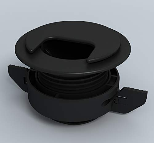 """Twist Lock Grommet (Black) Cable, Wire, Cord Management - Self Locking Grommet with Cover for Walls, Ceilings, Desks, Used for All Surfaces 3/8"""" to 1"""" Thick, Made in USA"""