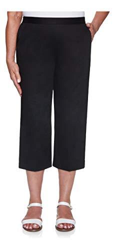 Alfred Dunner Women's Twill Classic FIT Capri Pant, Black, 8