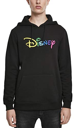 MERCHCODE Herren Disney Rainbow Logo EMB Hoody Kapuzenpullover, Black, M