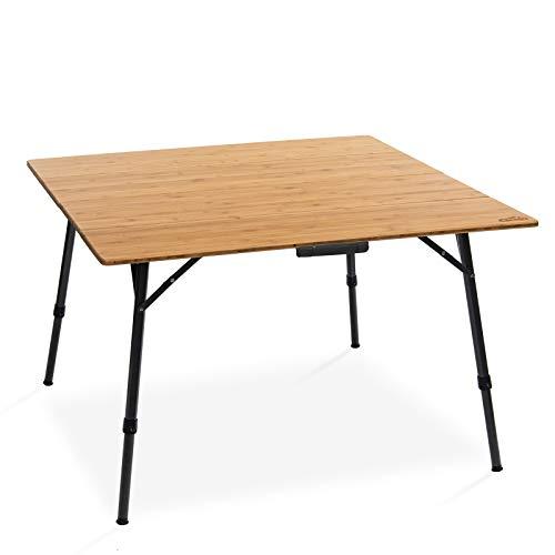 Qeedo Kimmy L, Campingtisch mit Bambus-Tischplatte, 110 x 110 cm, Höhenverstellbar