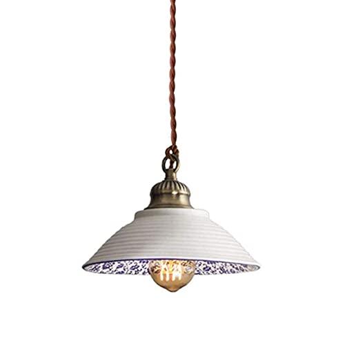 WEM Candelabro decorativo novedoso, lámpara colgante de estilo nórdico, lámpara colgante de cerámica antigua hecha a mano, iluminación colgante, lámpara retro de porcelana azul y blanca con superfici
