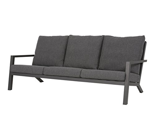 lifestyle4living Gartenbank 3-Sitzer aus Aluminium in anthrazit inkl. Kissen in grau. Die Loungebank ist wetterfest, ideal für Garten, Terrasse und Balkon.