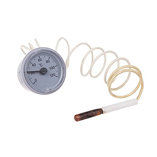 THERMIS Rundes Kapillarthermometer für Kessel, Heizungs- und Kühlsysteme verwendet, Analog Ø37mm, (0-120°C) Kapillare 1000 mm Typ 2037