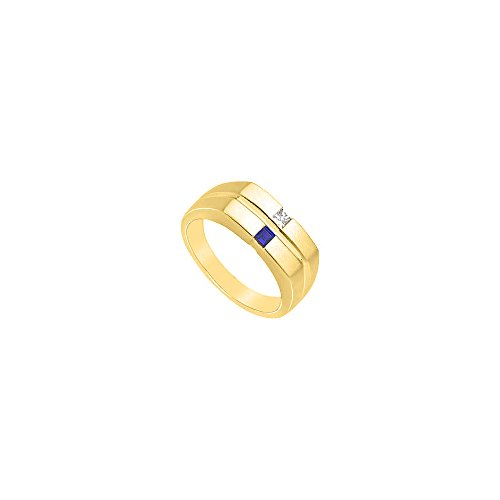 Photo of Mens Diamond and Sapphire Ring 14K Yellow Gold 0.25 CT TGW